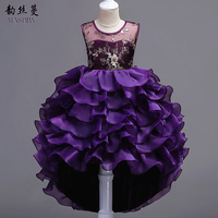 Yüksek dereceli Kızlar Kuyruk Elbiseler 6 8 10 12 için 14 Yıl Mor önlük Balo Parti Çocuklar için Elbise Çocuk Abiye Giyim 12 14 1L09