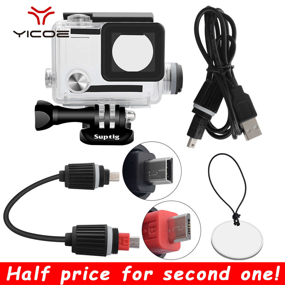 Untuk GOPRO HERO 4/3 +/3 Action Camera Aksesoris Pengisian Tahan Air Case Bingkai Bawah Air Charger Shell Housing Kotak