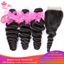 Queen Hair Products Brazilian Loose Wave Bundles with Closure 100% Human 3 With Lace Fast Free Shipping