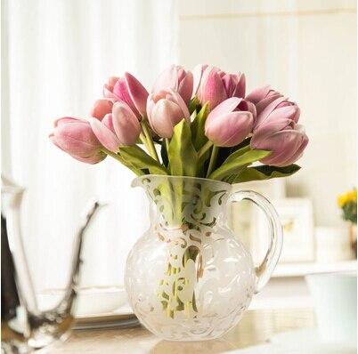 1pcs Tulip Artificial Flowers For Home Decoration Pu Silk Flowers