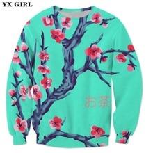 YX Girl Floral Clothes Men Women Sakura Cherry Blossom 3d Printed Sweatshirt Green Casual Pullover Plum Tracksuit
