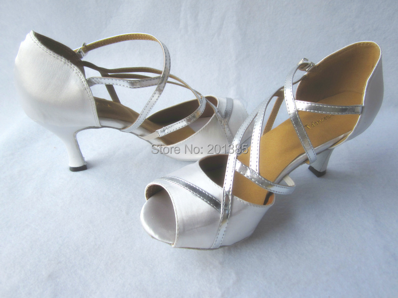Wholesale Ladies White Satin Silver Straps Ballroom LATIN SALSA Tango Wedding Dance Shoes Size 3435363738394041 In From Sports