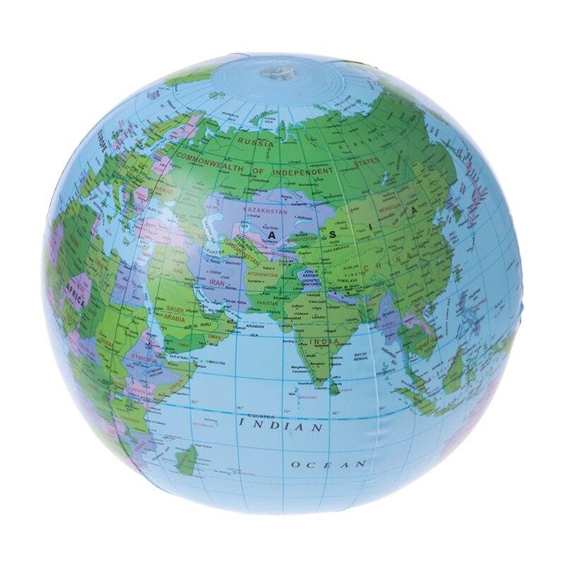 Hot Sale 30CM Inflatable World Map Globe Balloon Latex Beach Ball Education Geography Kid Toys