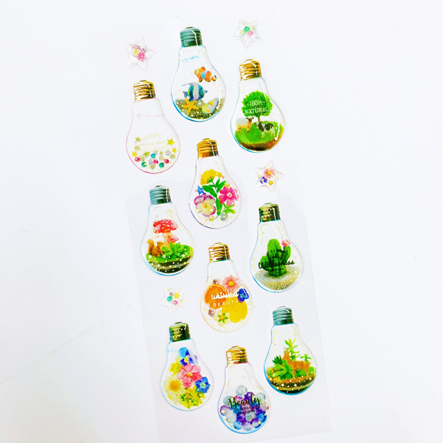 1 Sheet Fish Cactus Star Flower Animal In The Light Bulb Crystal DIY Stickers Decorative Scrapbooking Diary Album Stick Label