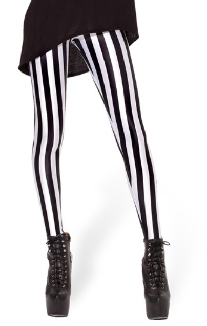 EAST KNITTING New Arrival Beetlejuice   Leggings   Black white vertical stripe print pants