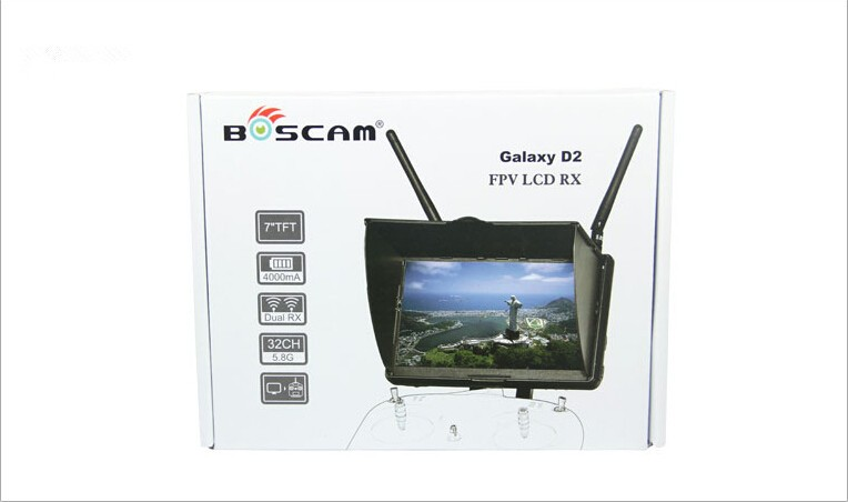 ФОТО JMT Boscam Galaxy D2 7in FPV Monitor/ Display Built-in 5.8G 32CH Dual Receiver with Holder And 4000mAh Battery and Sun Hood