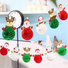 ФОТО new christmas decorations santa claus snowman paper ball garland festival venue arrangement paper garland party decor hanging