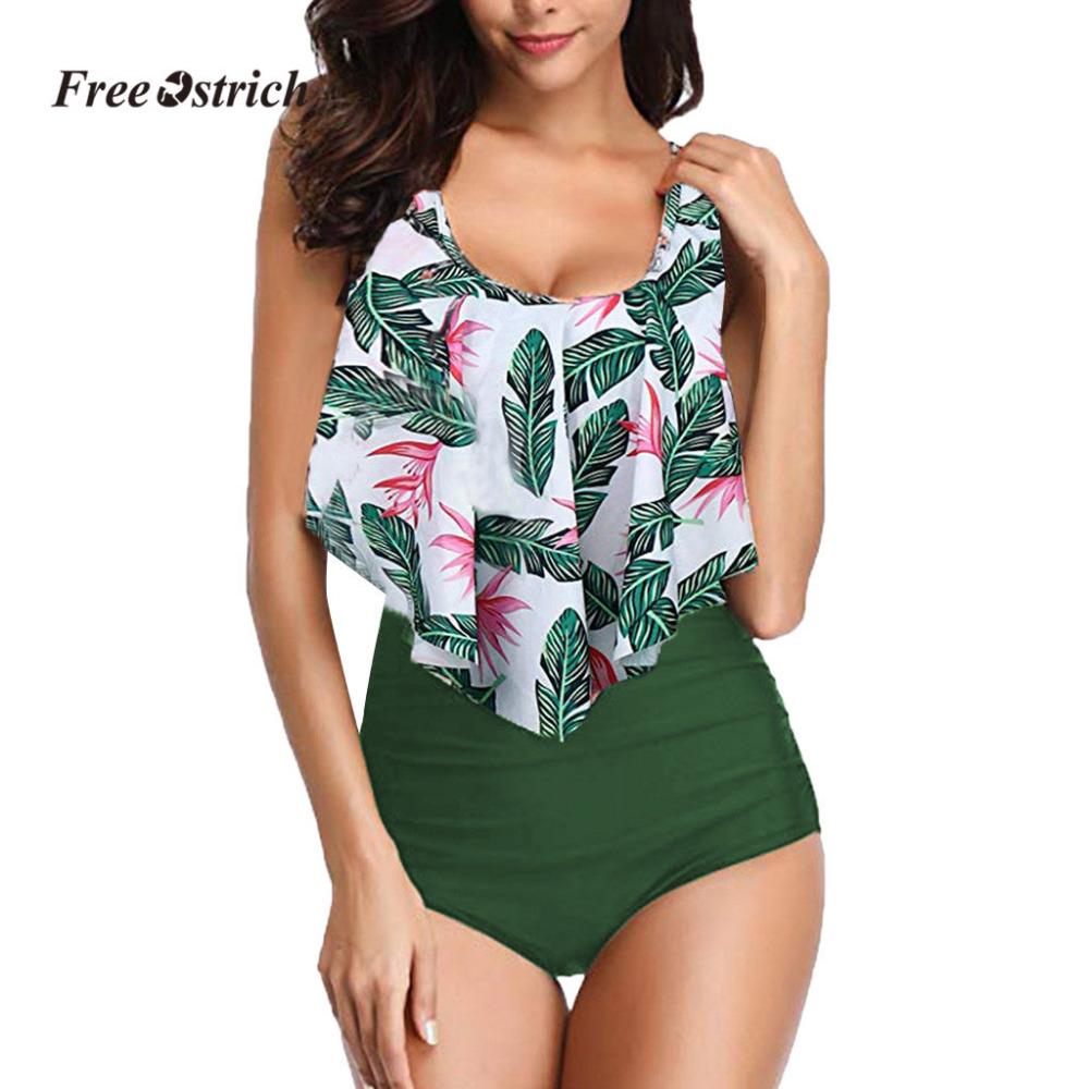 Free Ostrich Clothes suitm Women Two Pieces Plus Size Sexy Backless Halter Dot Printed underwear   Set   underwears women high waist