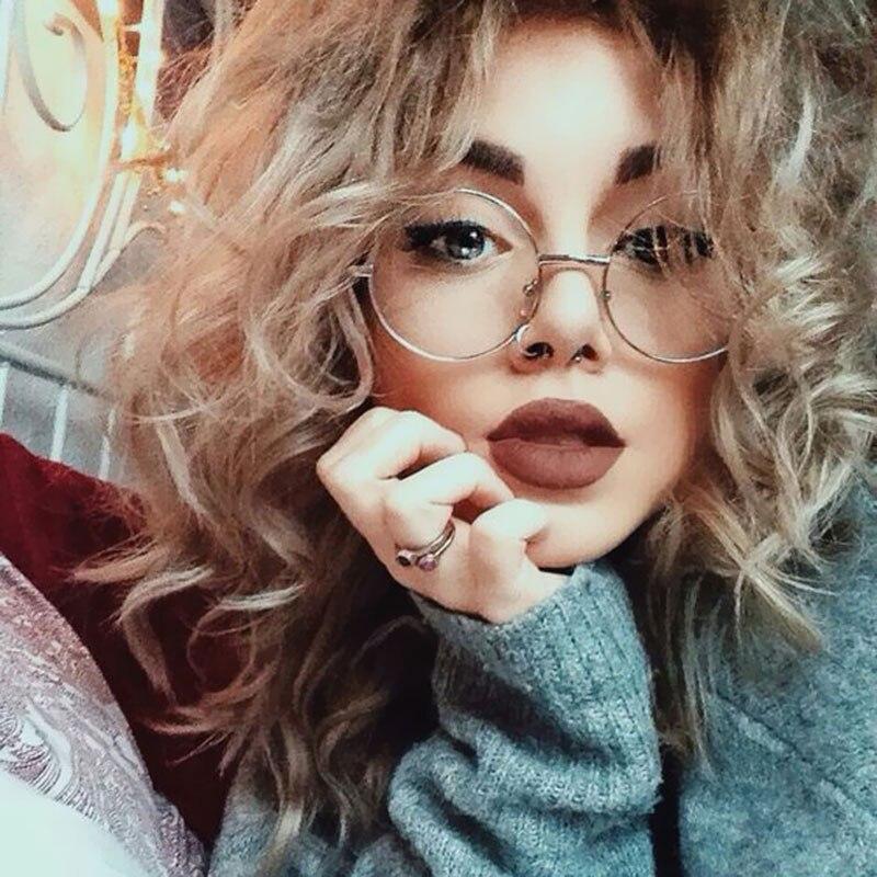 fashion vintage round metal glasses frame women men eyewear eyelasses clear lenses plain glasses oculos de