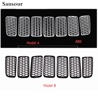 For Jeep Compass 2011 2015 Honeycomb Style Front Grille Grill Bezel Cover Trims 7pcs Set 2