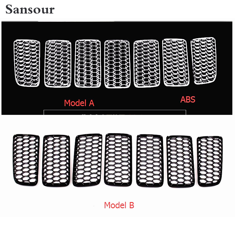 Sansour For jeep compass 2011 - 2015 Honeycomb style Front Grille Grill Bezel Cover Trims 7pcs / Set / 2 Color For Choice front center grille grill cover trims for toyota senna 2011 2012 2013 2014 2015
