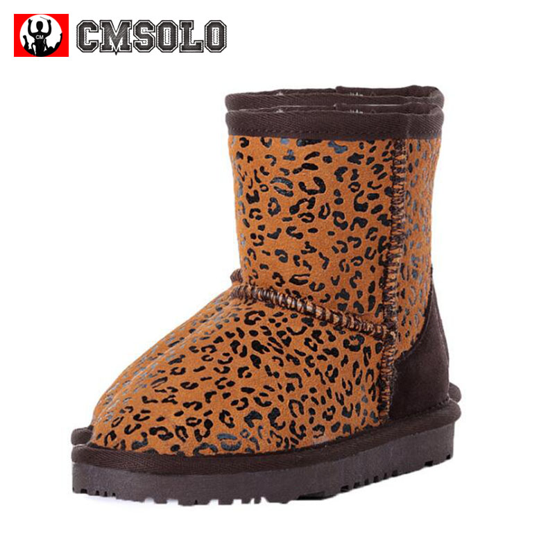 CMSOLO Girls Winter Boots Children Fashion Leopard Flat Warm Boys Shoes Slip-on Kids Footwear Female 5 Colors Plush Soft Popular 2016 new fashion children martin boots girls boys winter shoes kids rain boots pu leather kids sneakers waterproof anti skid