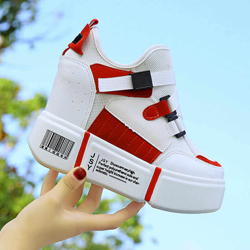 e251f6915a3 2018 Women White Platform Wedge Sneakers Ladies Chunky Sneakers Female  Hidden Heels Shoes Woman Height Increasing 11cm Trainers