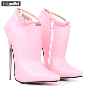 Image 2 - Extreme High Heels Women Spring Autumn Pumps 18cm Metal Spike Heels Pointed Toe Stiletto Sexy Ankle Strap Party Dance Shoes