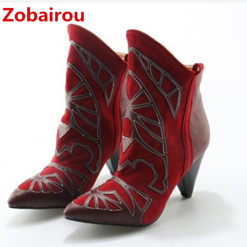 Zobairou 2018 western chelsea boots red balck embroidered suede leather punk cowboy boots for women spike high heels booties Zobairou 2018 western chelsea boots red balck embroidered suede leather punk cowboy boots for women spike high heels booties