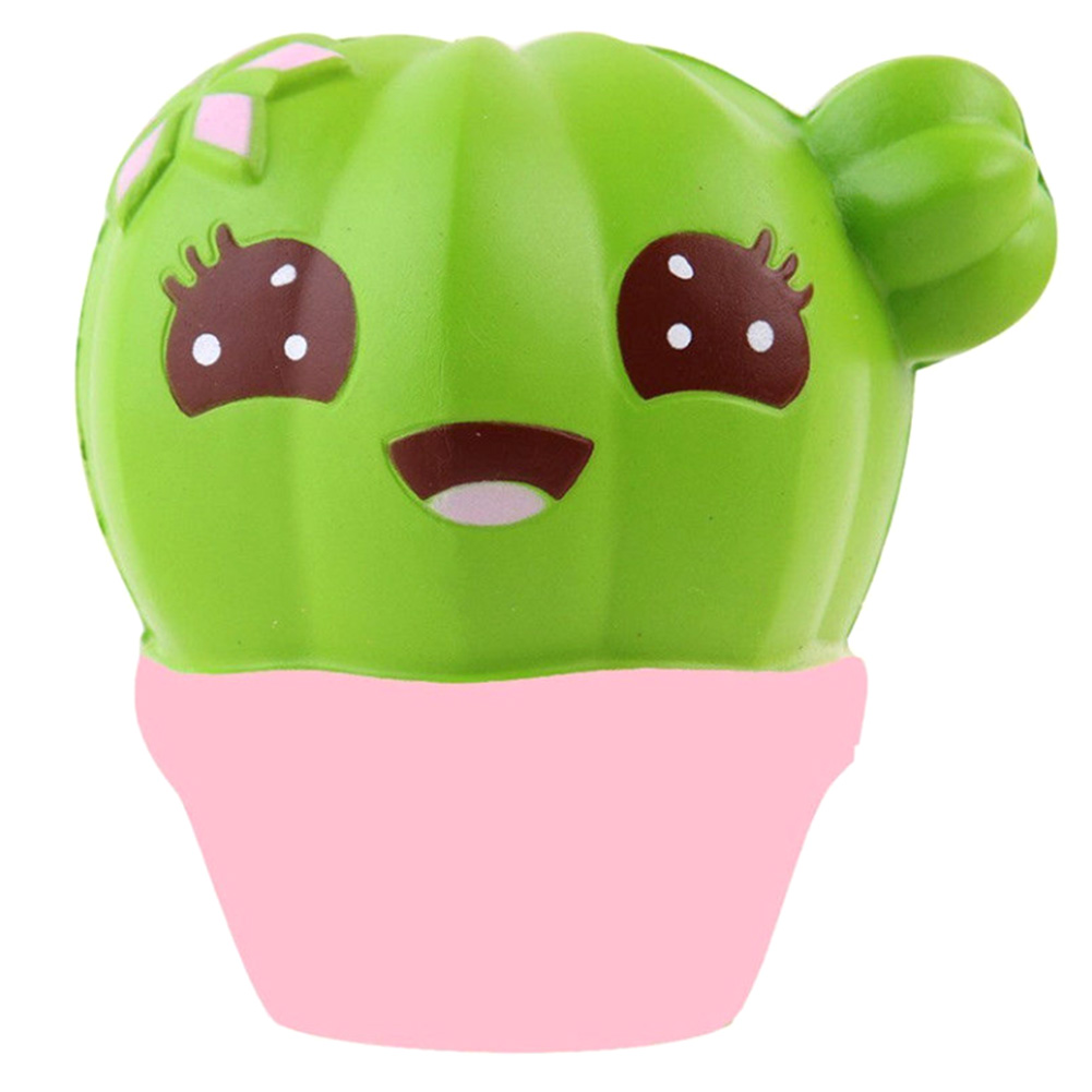 Kids Funny Toy Simulation Cactus Cream Scented Slow Rising Cute Emoji Anti Stress Squeeze Toy ...