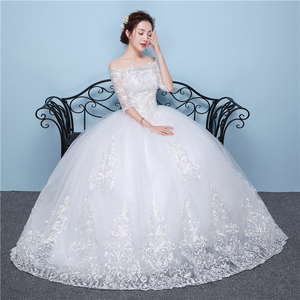 Image 5 - White Lace Boat Neck Half Sleeve Fashion Simple Wedding Dress Gowns Hiqh Quality Floor Length Big Embroidery Off the shoulder