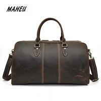 MAHEU Men's Leather Travel Shoulder Bag Genuine Leather Duffle Bags Full Zipper Cowhide Bags Outdoor Crazy Horse Fashion 50cm