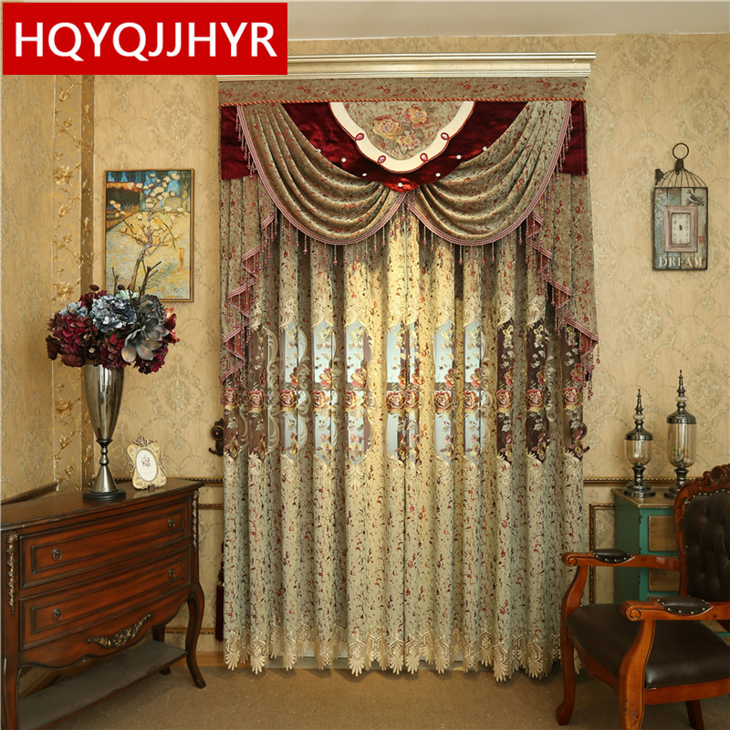 Royal aristocratic high-end custom embroidered high shade curtains for living room European luxury curtains for bedroom/Kitchen window valance