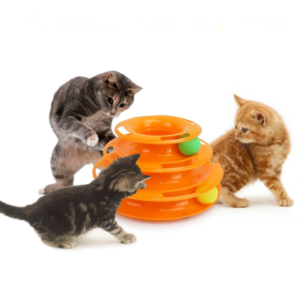 Funny Pet Toys Cat Crazy Ball Disk Interactive Triple Amusement Plate Play Disc Turntable Cat Toy Small Pet Toy For Kitten 7d4