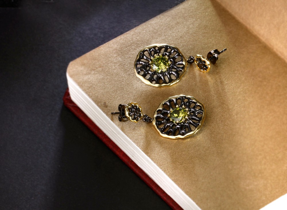 Dreamcarnival 1989 Ethnic Flower Jewel Earrings For Women Dangle Hollow Out Olivine Yellow Cz Pendientes Flecos Tipo Gota Dc1989 Shop The Nation