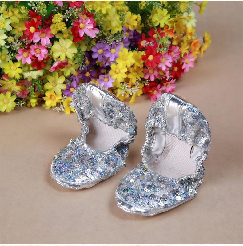 Soft Gold Silver Sequin Oriental Belly Ballet Dance Shoes for Women ... e9eca523c78f