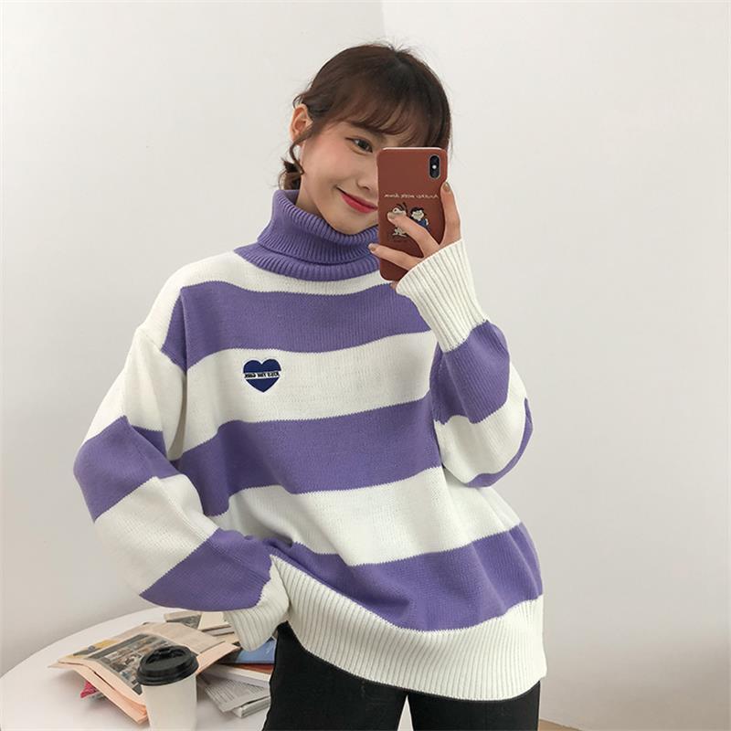 Women Striped Cartoon Love Badge Turtleneck Sweater Female Vintage Harajuku Ulzzang Knitted Women's Sweaters Lady Cute Kawaii