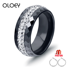 OLOEY Ring Bague Rings For Women New Edition Ceramic Black White Jewelry Gifts Crystal Insert Knuckle Female