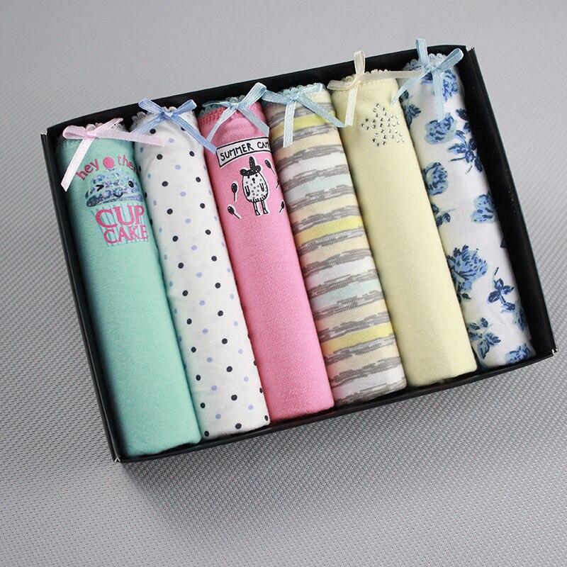 6Pcs/lot Cotton   Panties   Women Underwear Sexy Briefs Seamless Cute Print Briefs Soft Comfort Plus Size XXXL Girls Lingeries