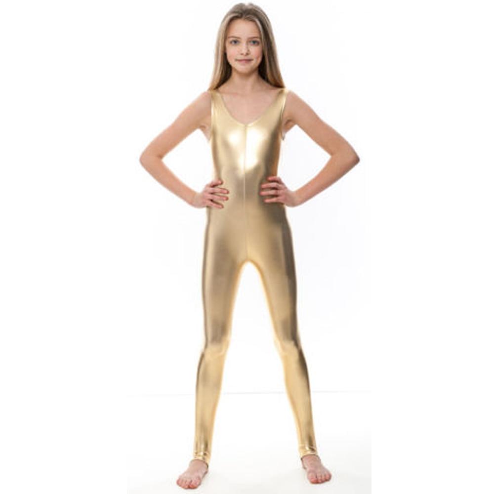 Girls Gold Tank Stirrups Unitards Metallic Kids Ballet Dance Leotards Gymnastics Toddler Shiny Dancewear Child Performance Suits