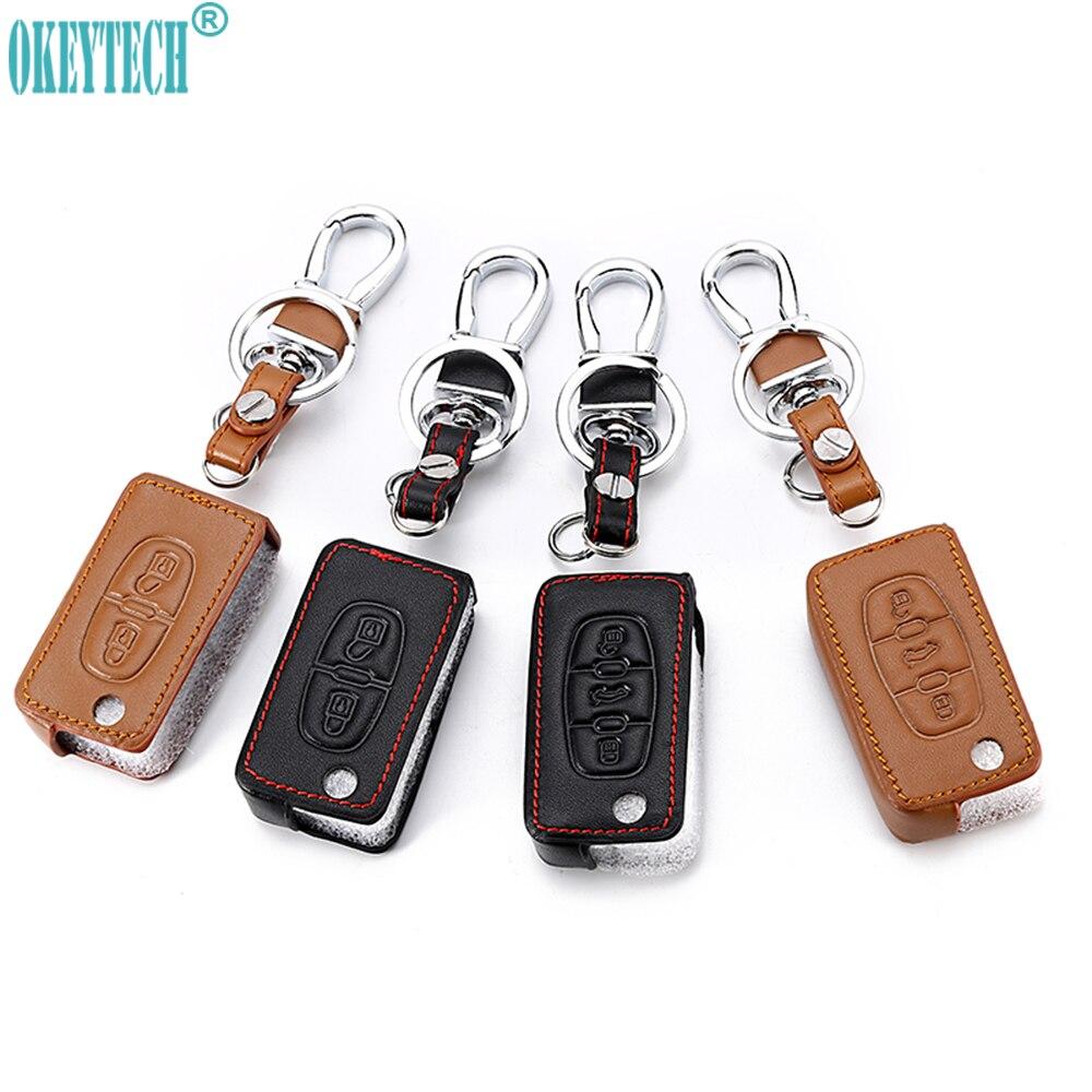 OkeyTeach 2/3 Boutons Voiture Style En Cuir Housse Clé de Voiture Pour Peugeot 107 207 307 407 308 607 Pour Citroen C1 C2 C3 C4 C5 C6