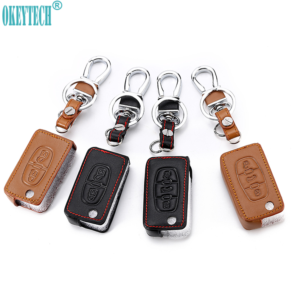 OkeyTeach 2/3 Buttons Car Styling Leather Car Key Cover Case For Peugeot 107 207 307 407 308 607 For Citroen C1 C2 C3 C4 C5 C6