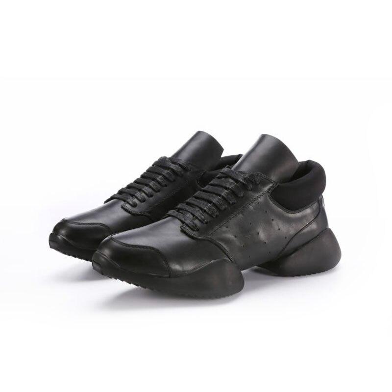 Up 2019 Grande De Black Casuais Sneaker Luxo Homens White New Couro Ankle Ferradura Plana Formadores And Marca Tamanho Genuíno Lace Da Branco black white Sapatos Preto 8qwXE