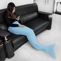 Fashion High Quality kids throw bed wrap sleeping bag six Colors Knitted mermaid tail blanket handmade crochet for kids gifts