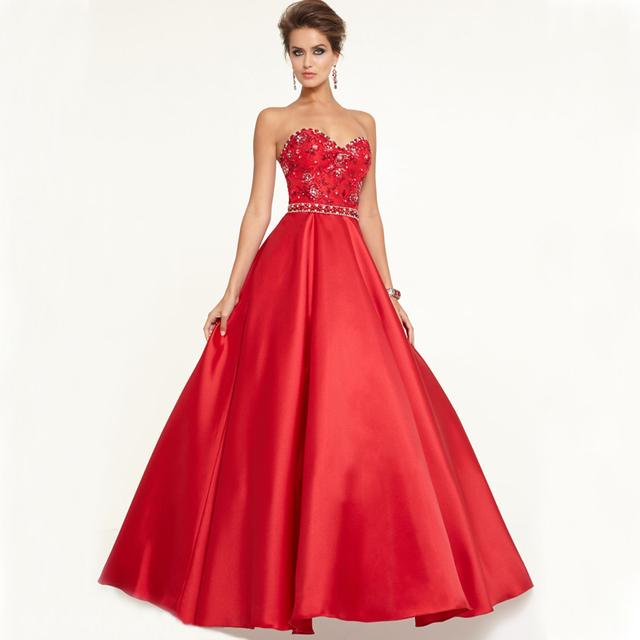 Bf3003 Rhinestones Princess Evening Party Dresses Elegant Satin Red Black Wedding Dress Sweetheart Long