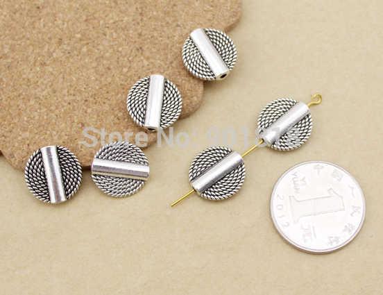 20 pcs/lot vintage logam Manik-manik tabung beads sideway Spacer Eropa beads F1090 pikir