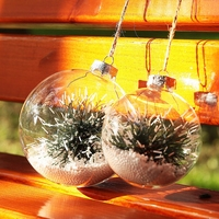 60 100mm Christmas Decorations For Home Snow Flake Christmas Ball Transparent Xmas Tree Hanging Ball Party