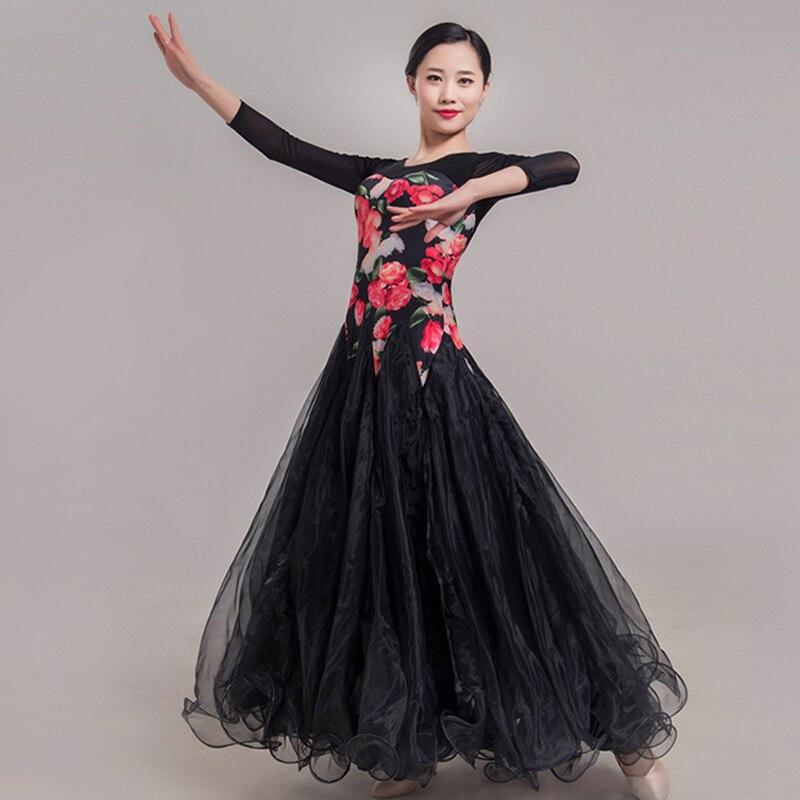 New Ballroom Dance Competition Dresses Women Black Gauze Dance Skirt Waltz Dress Ballroom Group Performance Dance Costume BL1738