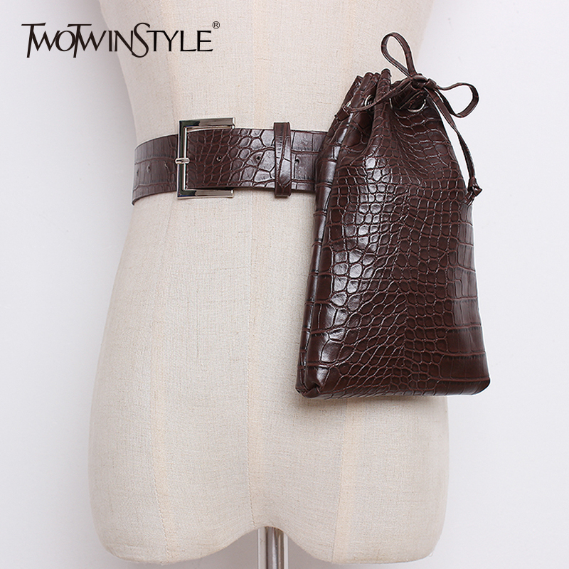 TWOTWINSTYLE PU Leather Women's Belt With Lace Up Drawstring Bucket Pocket Belts Female 2019 Autumn Winter Fashion Clothing Tide