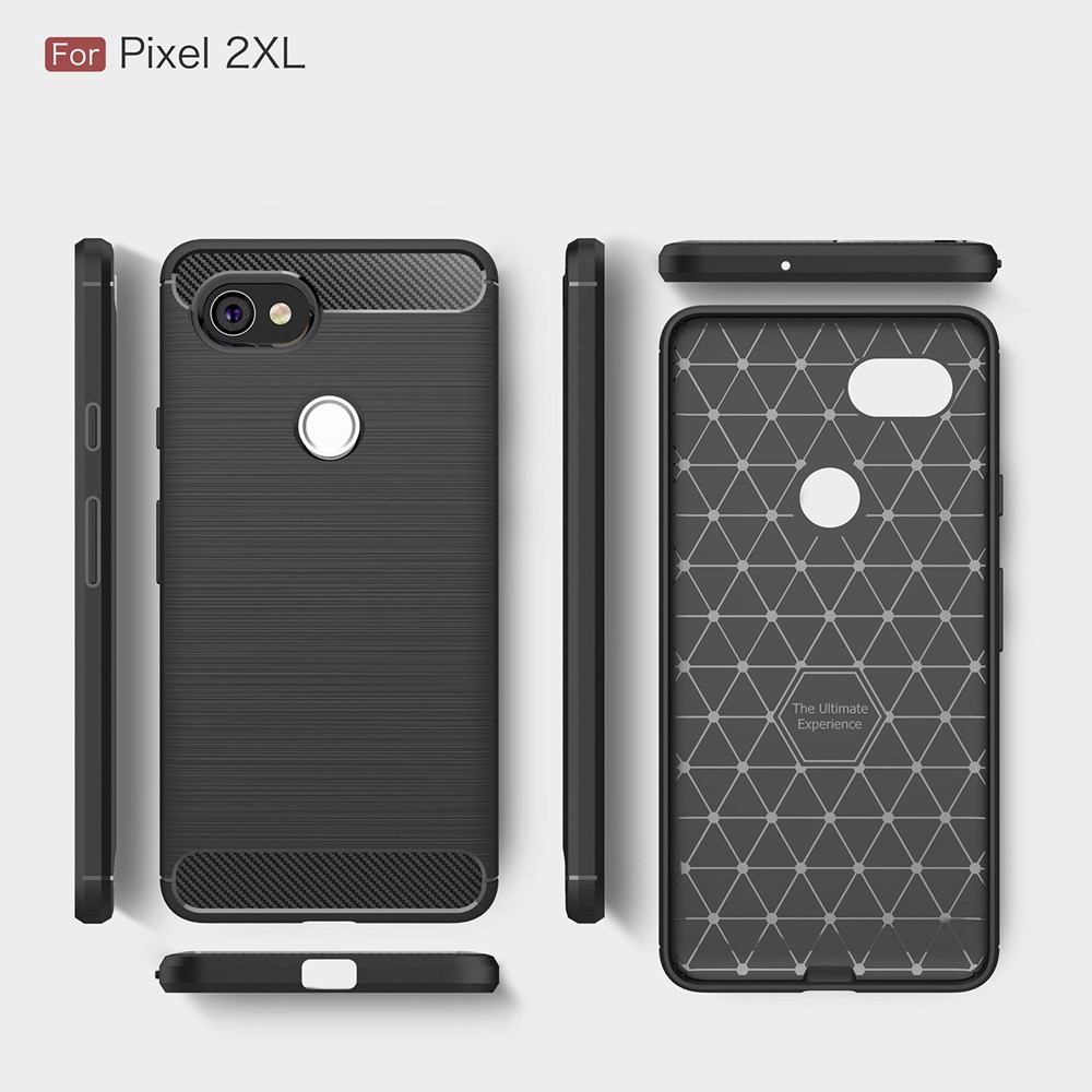 MAKAVO Cover For Google Pixel 2 XL Case Soft Silicone TPU Fundas Carbon Fiber Back Housing For Google Pixel 2 2XL Phone Cases