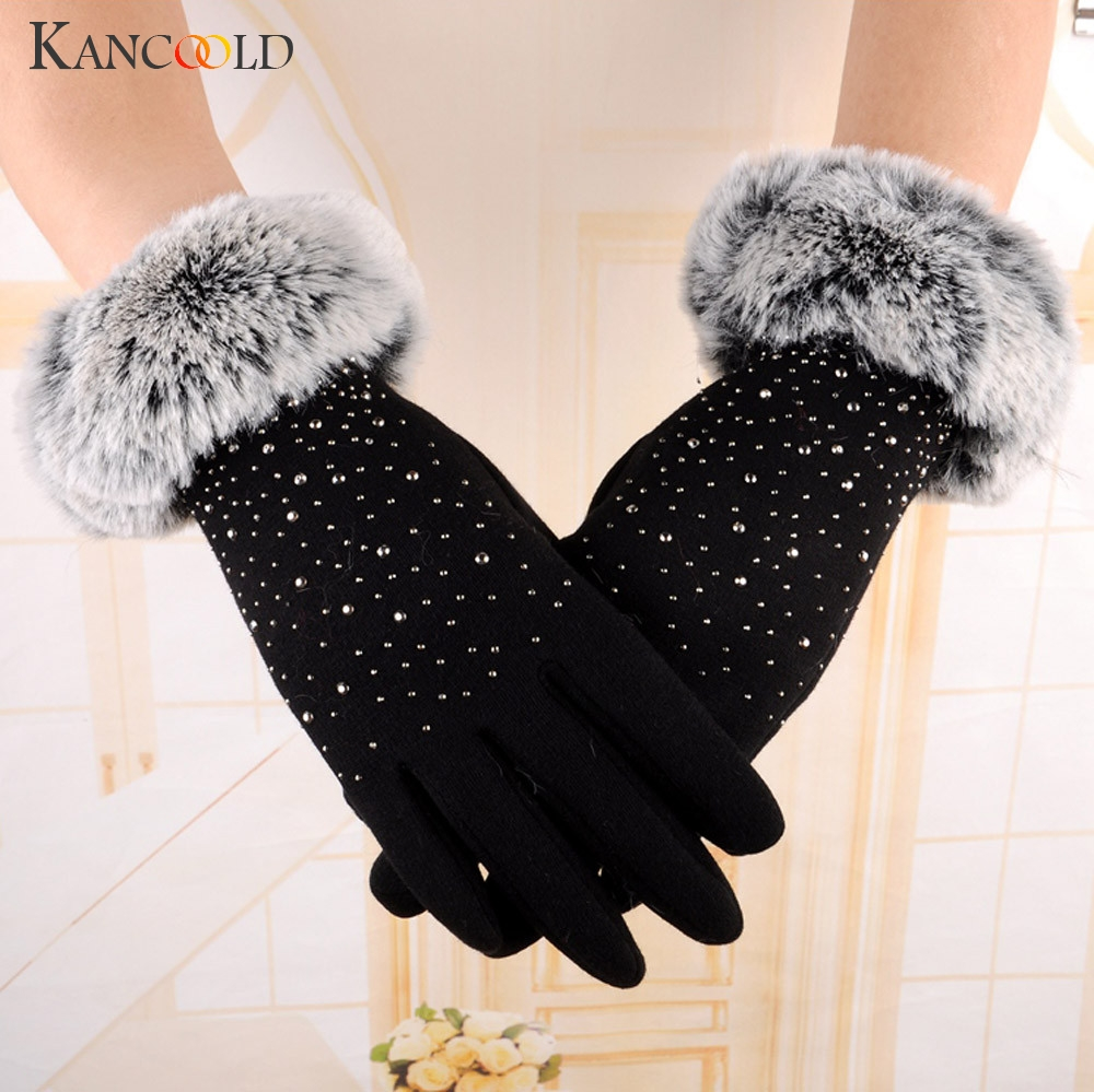 KANCOOLD Gloves Womens Fashion Winter Outdoor Sport Warm Gloves Raw Mouth With Drill Party Gloves Women 2018NOV23