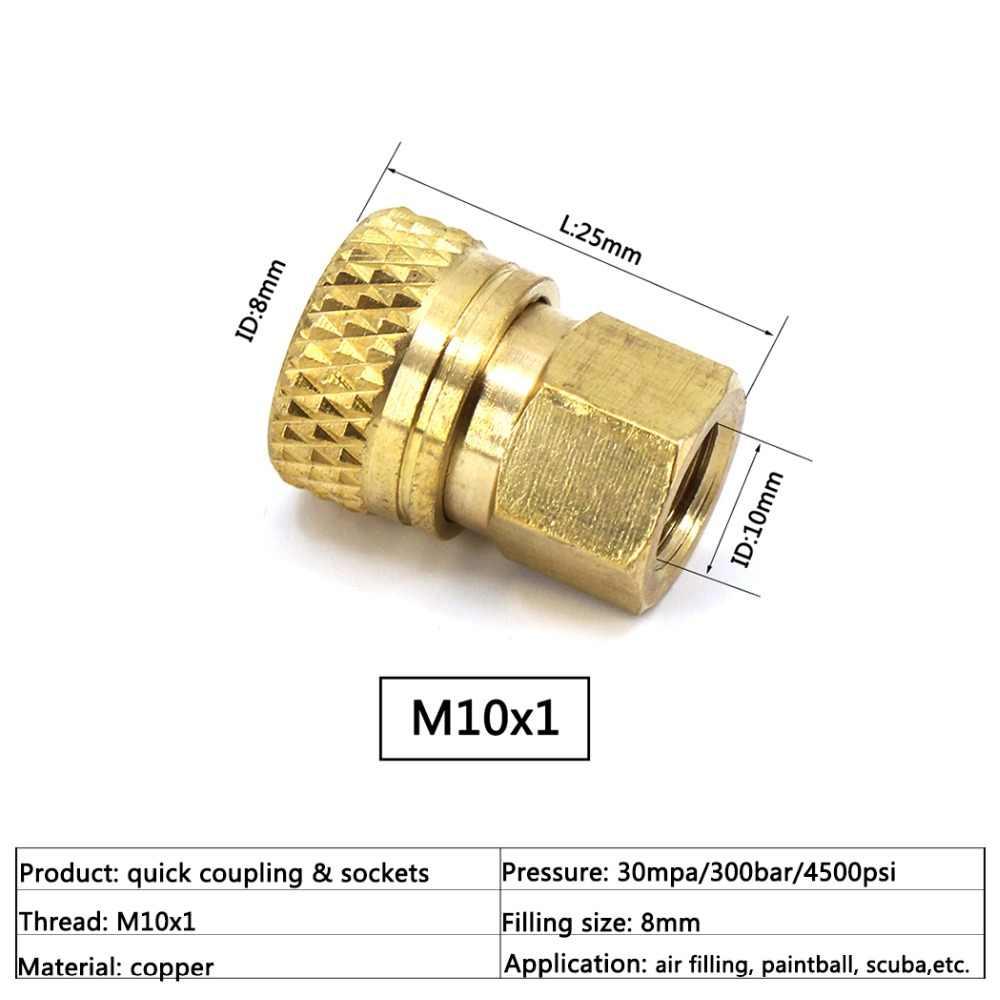 PCP سلاح الجو الألوان هوائي M10x1 1/8 BSPP 1/8NPT أنثى السريع افصل الهواء إعادة تعبئة المقرنة مآخذ 8 مللي متر تركيبات نحاسية