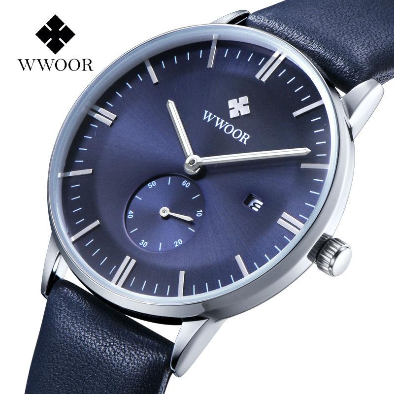 2017 wwoor Для мужчин S часы лучший бренд роскошных часов Для мужчин кожаный ремешок Повседневное кварцевые часы Спорт Военная часы мужской Relogio ...