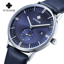 2017 WWOOR Mens Watches Top Brand Luxury Watch Men Leather Strap Casual Quartz Watch Sport Military Clock Male Relogio Masculino