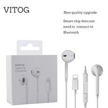 سماعة أذن بإضاءة مع ميكروفون سماعة أذن ستيريو سلكية لهاتف Apple iPhone 8 7 Plus X XS MAX XR iPod سلكية