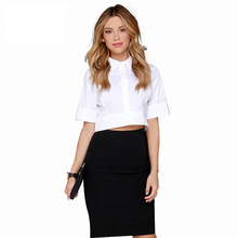 Fashion Women Shirts Casual White Solid High-waist Single Breasted Blouse Basic Party Slim Female Tops For Wholesale