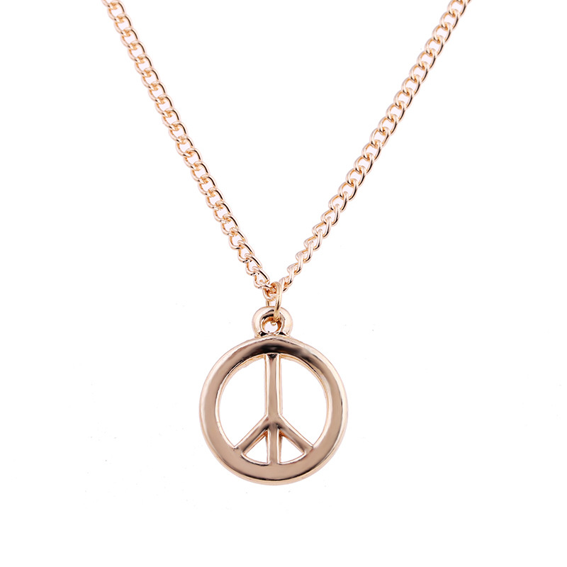 Fashion Jewelry Peace Sign Pendant Necklace For Women Jewelry Gold-color Alloy Choker Clavicle Short Necklace