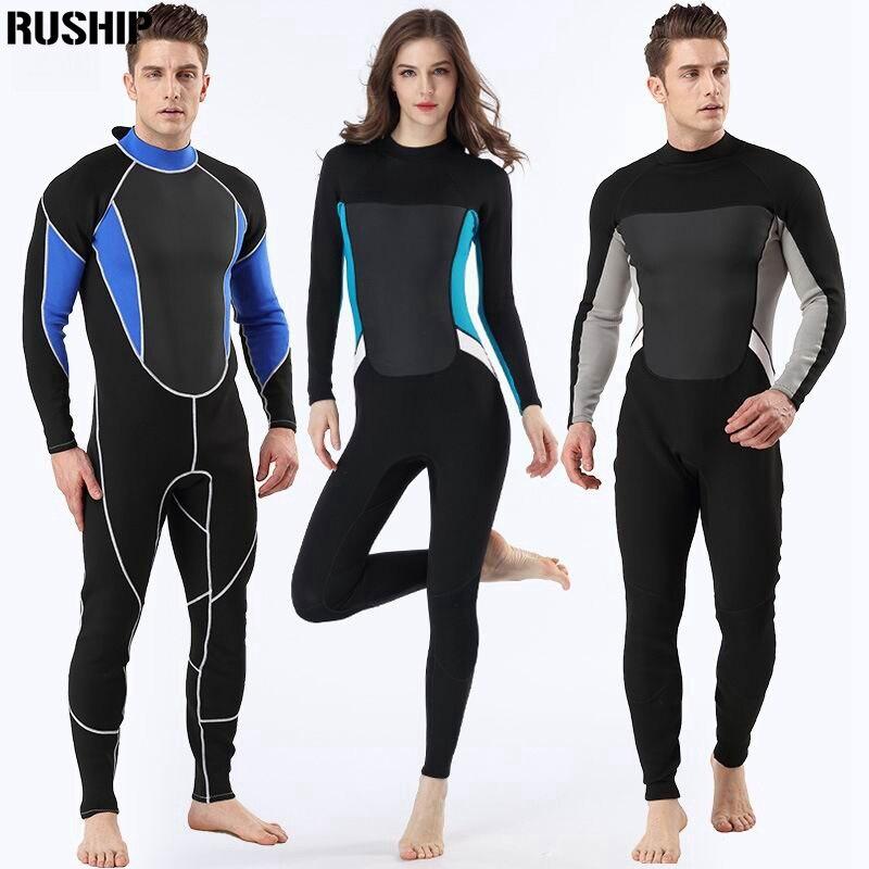 High Quality 2mm Men Women wetsuit Long sleeved one piece Swimsuit neoprene Triathlon Diving suit Super Elastic Surf Equipment