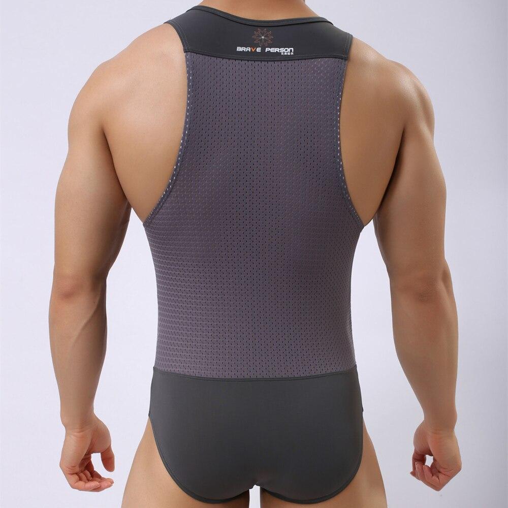 Brave Person Bodysuits Men High Elasticity One-piece Shapers Men's Leotard Slim Corrective Body Building Men Singlet Underwear