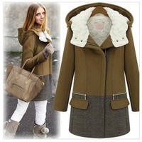 2015 Brand Fashion Winter Warm Coat Autumn Women Wool Jacket Plus Size Thick Plus Cotton Wool